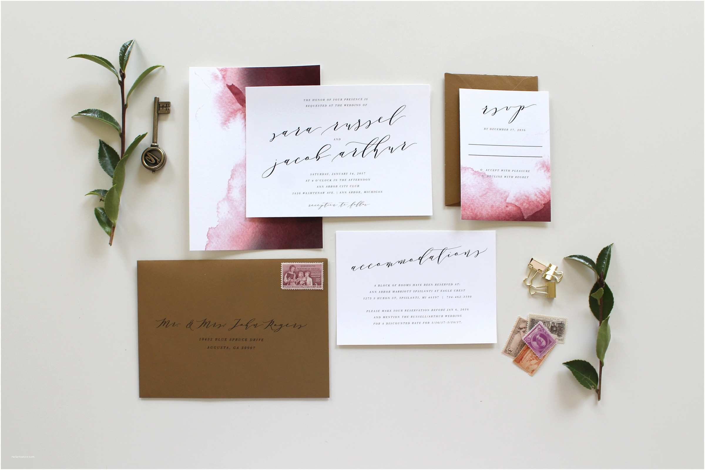 Calligraphy for Wedding Invitations Custom Calligraphy Wedding Invitation Suite
