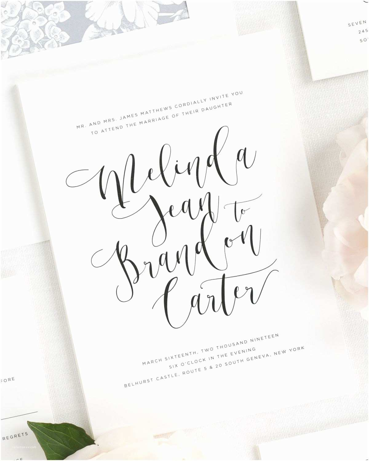 Calligraphy for Wedding Invitations Flowing Calligraphy Wedding Invitations Wedding