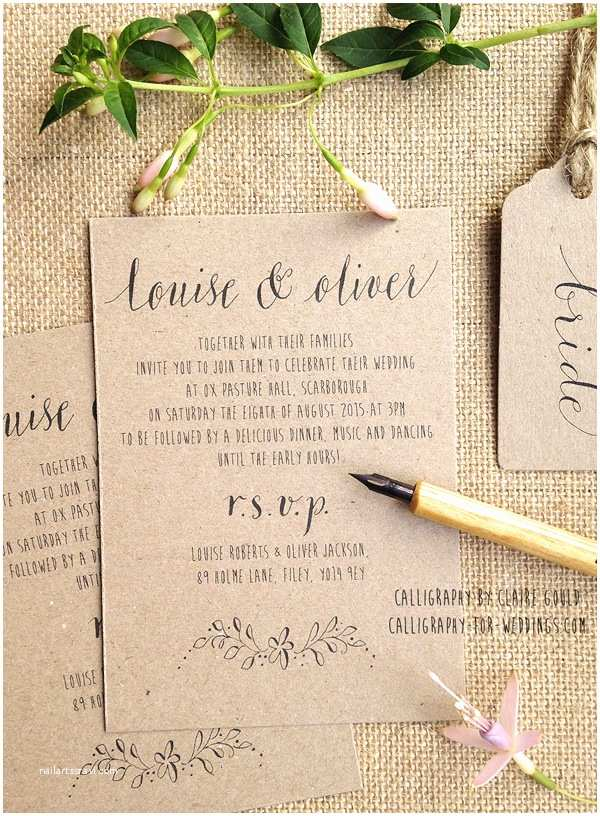 Calligraphy for Wedding Invitations Kraft and Calligraphy Wedding Invitations From £2 – by