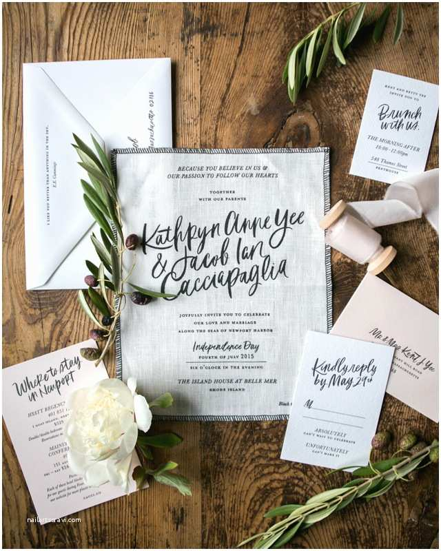 Calligraphy for Wedding Invitations Modern Calligraphy Fabric Wedding Invitations