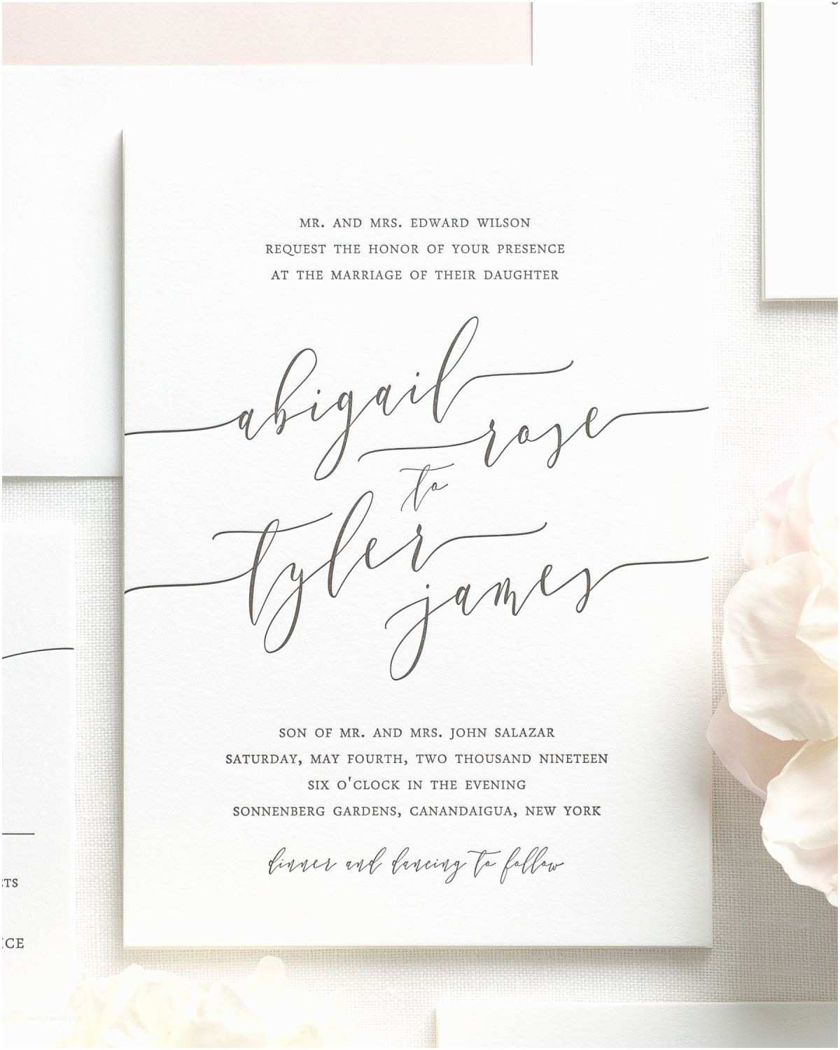 Calligraphy for Wedding Invitations Romantic Calligraphy Letterpress Wedding Invitations