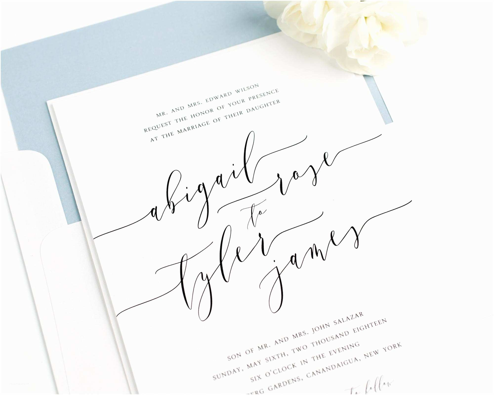 Calligraphy for Wedding Invitations Romantic Calligraphy Wedding Invitations In Dusty Blue
