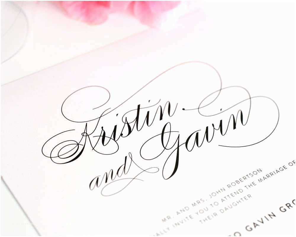Calligraphy for Wedding Invitations Wedding Invitations with Names In Calligraphy
