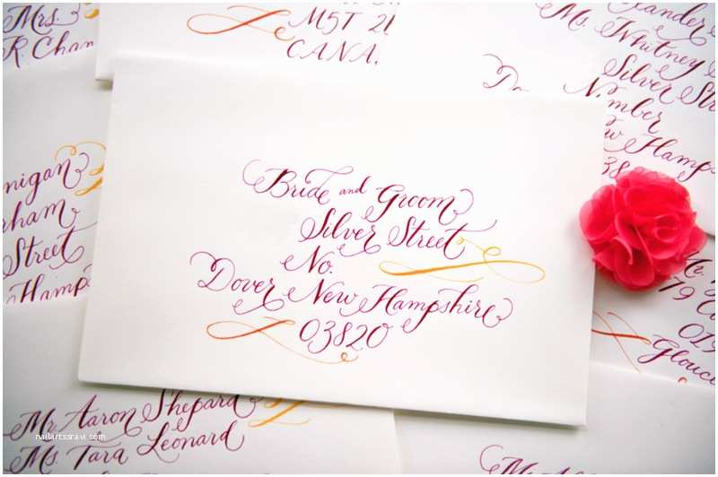 Calligraphy for Wedding Invitations Whitney A K S Colorful Letterpress Wedding Invitations