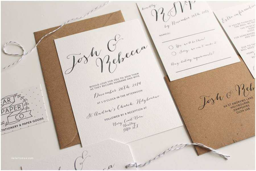 Calligraphy Wedding Invitations Elegant Calligraphy Wedding Invitation by Pear Paper Co