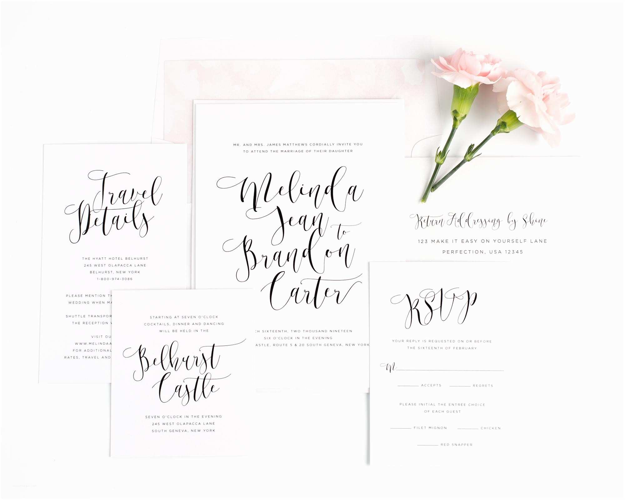 Calligraphy Wedding Invitations Light and Airy Wedding Invitations In Pink – Wedding