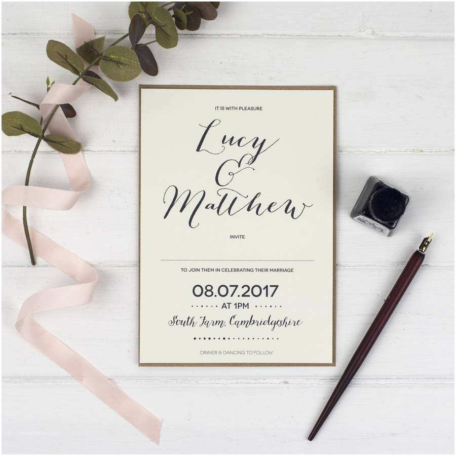 Calligraphy Wedding Invitations Modern Calligraphy Wedding Invitation by Russet and Gray