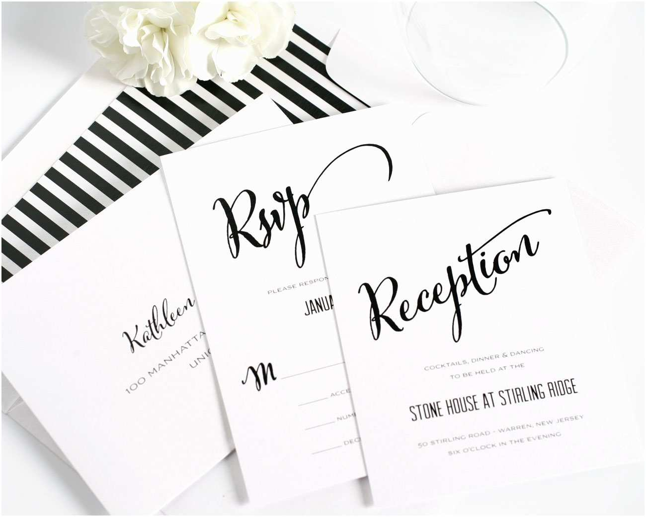 Calligraphy Wedding Invitations Modern Calligraphy Wedding Invitations In Black and White