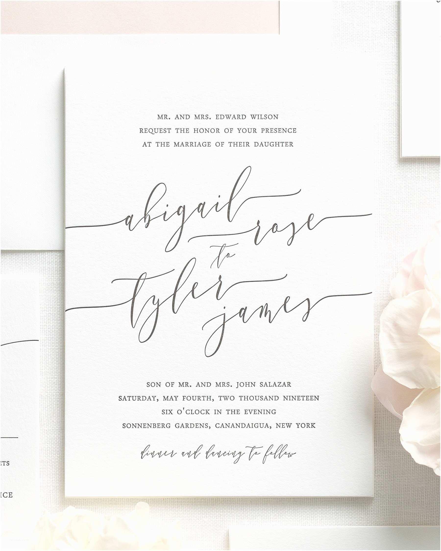 Calligraphy Wedding Invitations Romantic Calligraphy Letterpress Wedding Invitations