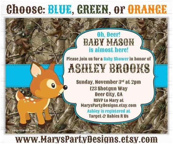 Camo Baby Shower Invitations Oh Deer Hunting Camo Baby Shower Invitation by