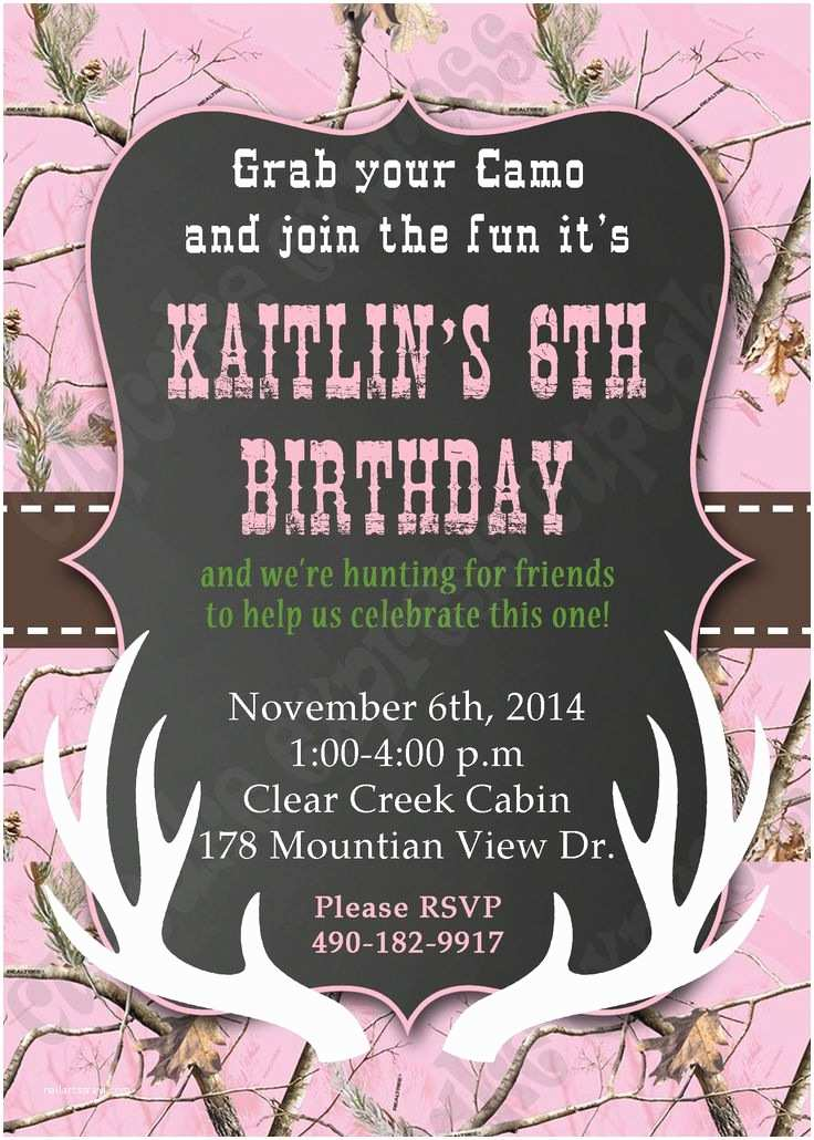 Camo Birthday Invitations Camo Girl Hunting 6 Birthday Party Printable Invitation