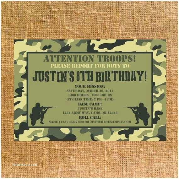 Camo Birthday Invitations Customized Army Camo Birthday Party Invite Digital by