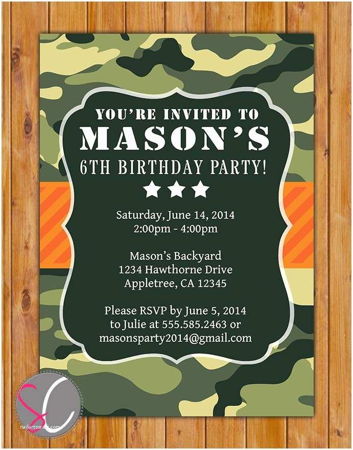 Camo Birthday Invitations Green Camo Birthday Party Invitation orange Green Camouflage