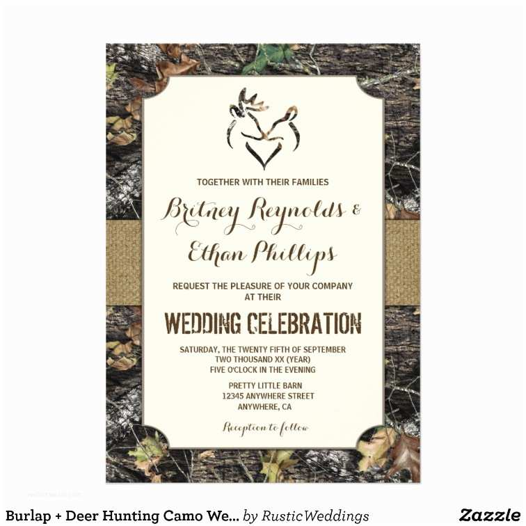 Camo Wedding Invitations Burlap Deer Hunting Camo Wedding Invitations