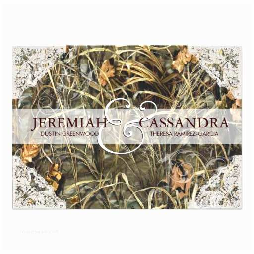 Camo Wedding Invitations Camo and White Lace Wedding Invitation