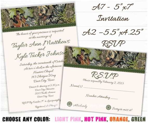 Camo Wedding Invitations Camo Wedding Invitation and Rsvp Cards Hunting