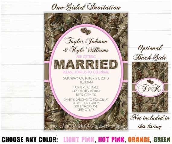 Camo Wedding Invitations Camo Wedding Invitation Hunting Camouflage orange Pink