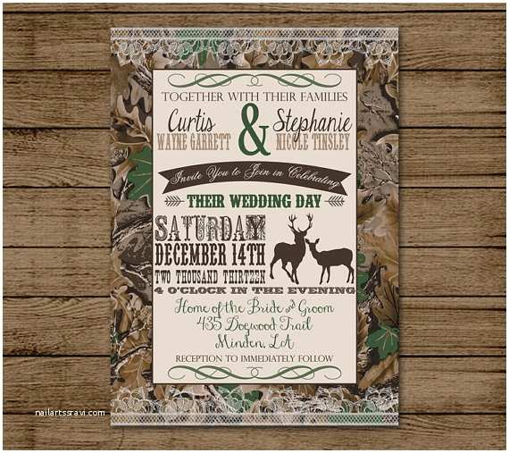 Camo Wedding Invitations Customized Wedding Invitation Camo Deer Camouflage by