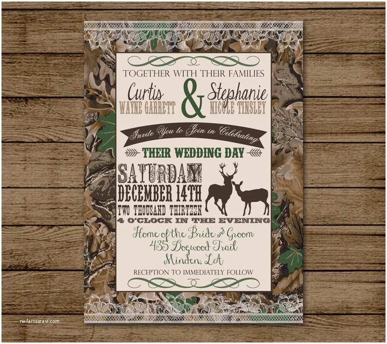 Camo Wedding Invitations Customized Wedding Invitation Camo Deer Camouflage Couples