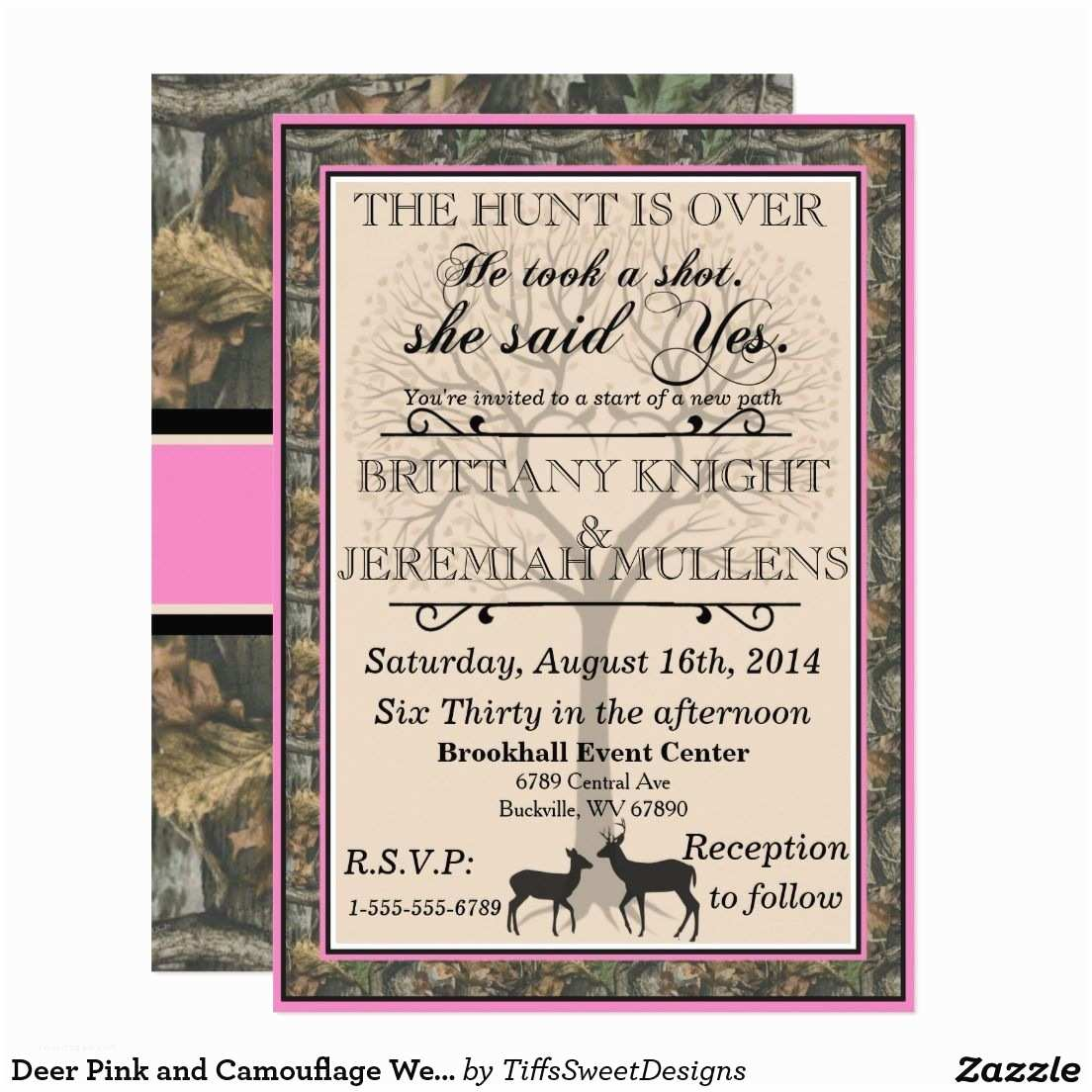 Camo Wedding Invitations Deer Pink and Camouflage Wedding Invitation
