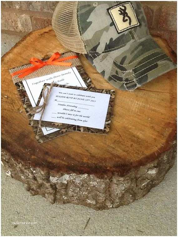 Camo Wedding Invitations Mossy Oak or Real Tree Camo and orange Wedding Invitation