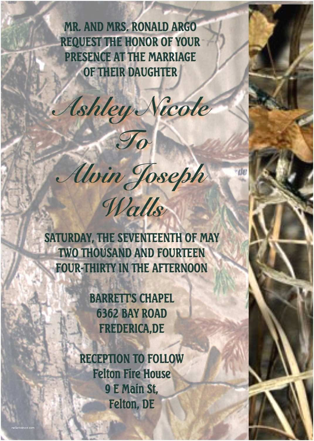 Camo Wedding Invitations Realtree Max 4 Camo Wedding Invitations