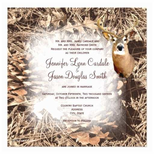 Camo Wedding Invitations Rustic Camo Hunting Deer Antlers Wedding Invites