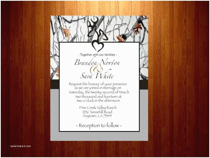 snow camo wedding invitations
