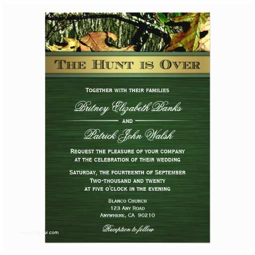 "Camo Wedding Invitations the Hunt is Over Hunting Camo Wedding Invitations 5"" X 7"
