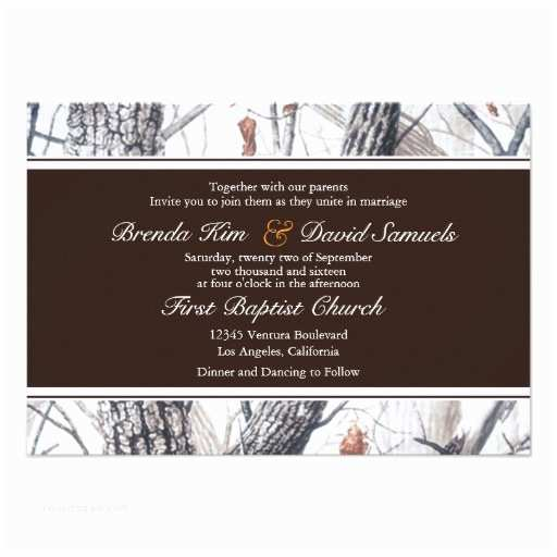 Camo Wedding Invitations Winter Camo Wedding Invitation