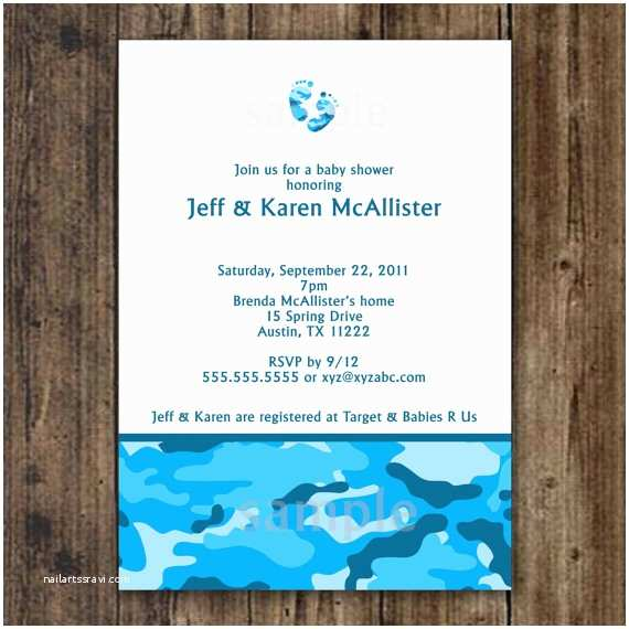Camouflage Baby Shower Invitations Blue Camo Baby Shower Invitation Digital File by