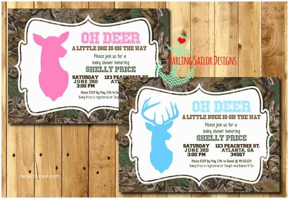 Camouflage Baby Shower Invitations Camo Baby Shower Invitation Oh Deer Buck by