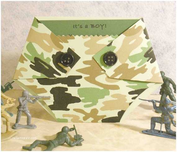 Camouflage Baby Shower Invitations Green Camo Baby Shower Invitation Diaper Shaped
