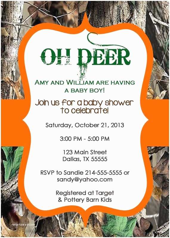 Camouflage Baby Shower Invitations Oh Deer Real Tree Camo Baby Shower Invitation or Birthday