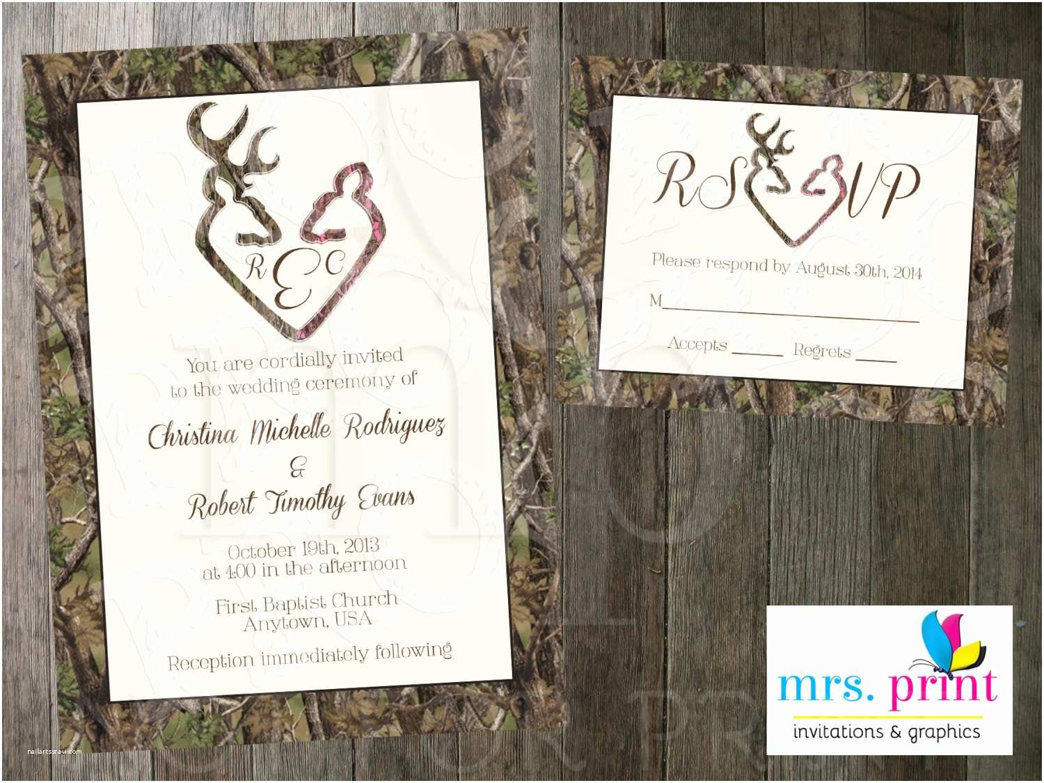 Camouflage Wedding Invitations Camo Deer Hearts Wedding Invitation And Rsvp Card By