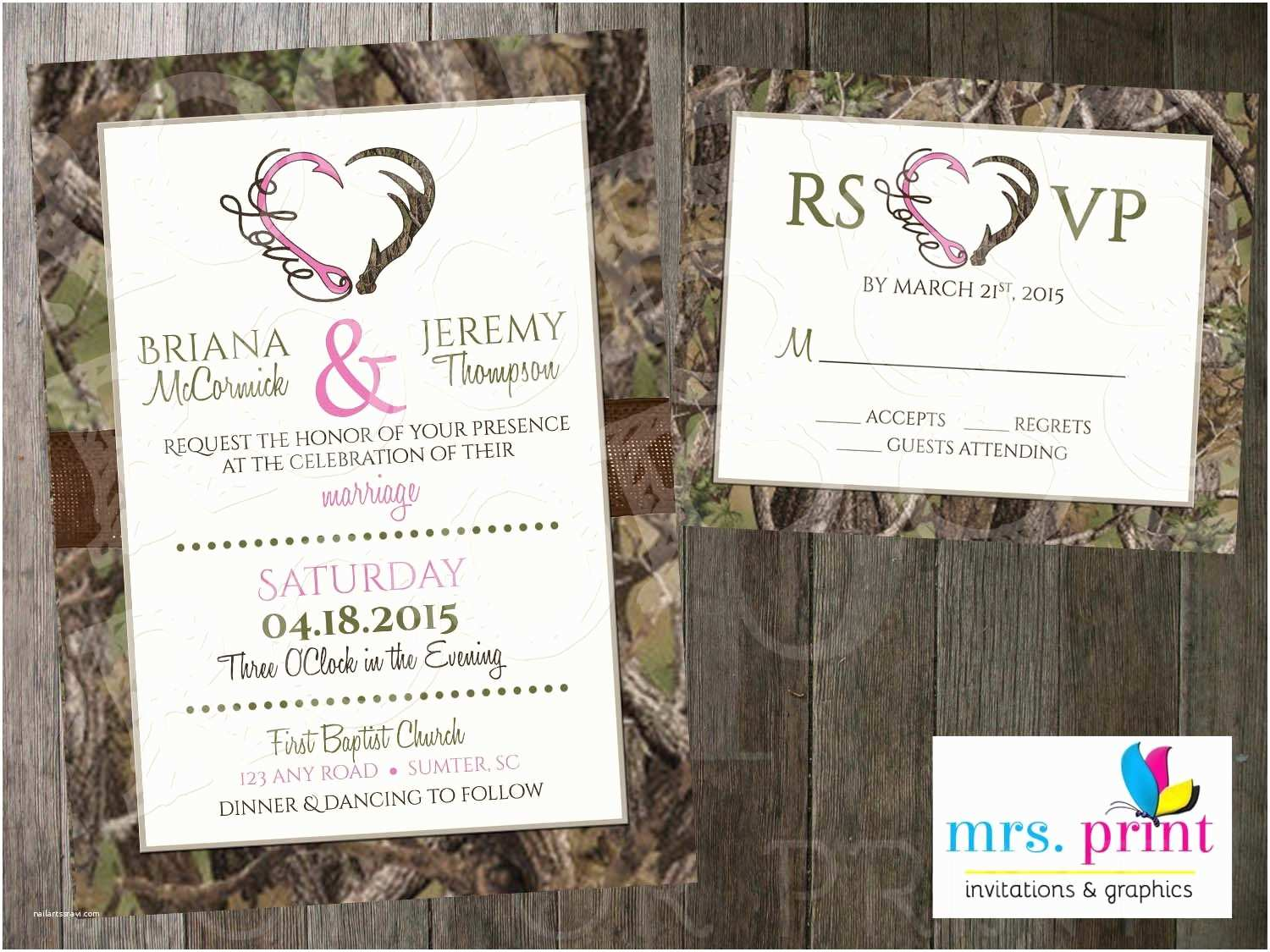 Camouflage Wedding Invitations Hooked Love Camo Wedding Invitation And Rsvp Card