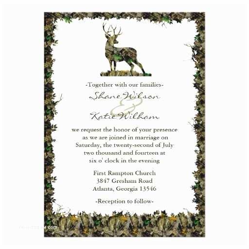 "Camouflage Wedding Invitations Hunting Camouflage Wedding Invitation 5"" X 7"" Invitation"