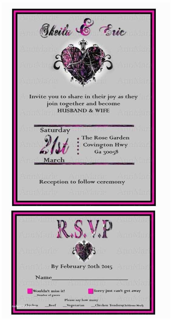 Camouflage Wedding Invitations Muddy Girl Camo Wedding Invitation With Reply Card