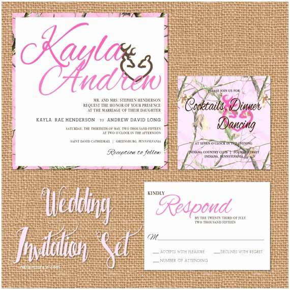 Camouflage Wedding Invitations Pink Camo Wedding Invitation Camouflage Wedding Suite Pink