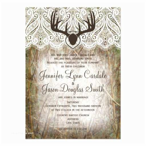 Camouflage Wedding Invitations Rustic Country Camo Hunting Antlers Wedding Invite