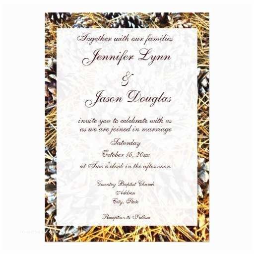 """Camouflage Wedding Invitations Rustic Country Camo Pine Cones Wedding Invitations 5"""" X"""