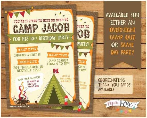 Camping Birthday Invitations Best 25 Camping Birthday Invitations Ideas On Pinterest