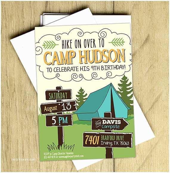 camping invitation printable boys birthday party