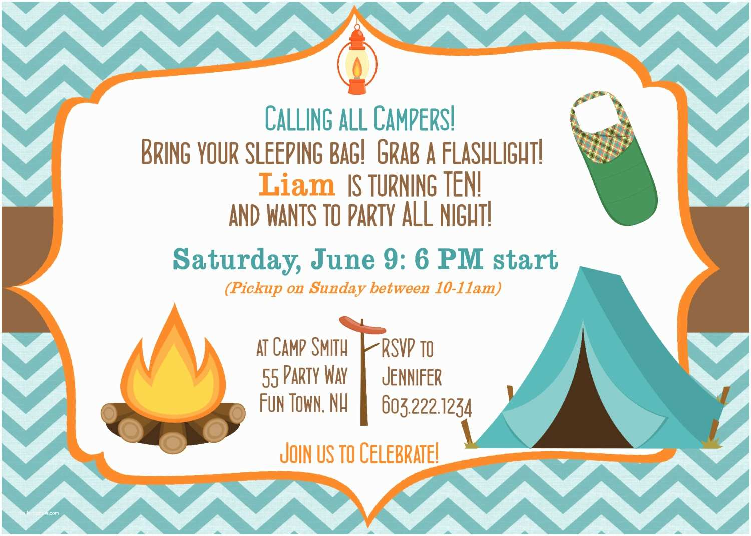 Camping Birthday Invitations Camping Birthday Party Invitation Printable Camping Out Party