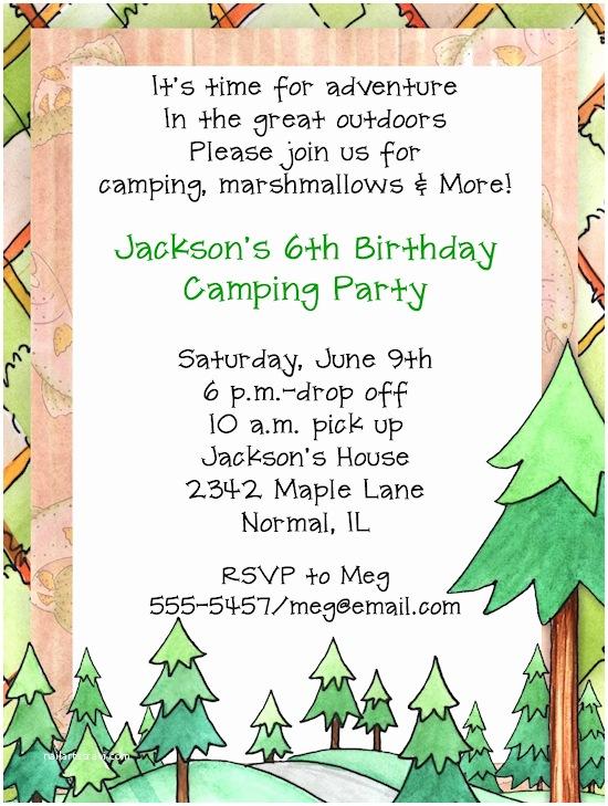 Camping Birthday Invitations Camping Birthday Party Invitations