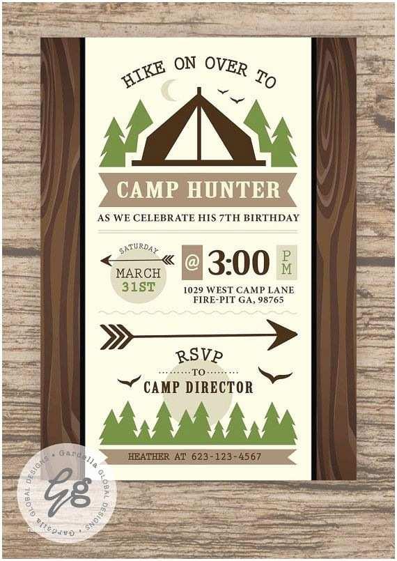 Camping Birthday Invitations Camping Invitation Camping Invite Camping Party