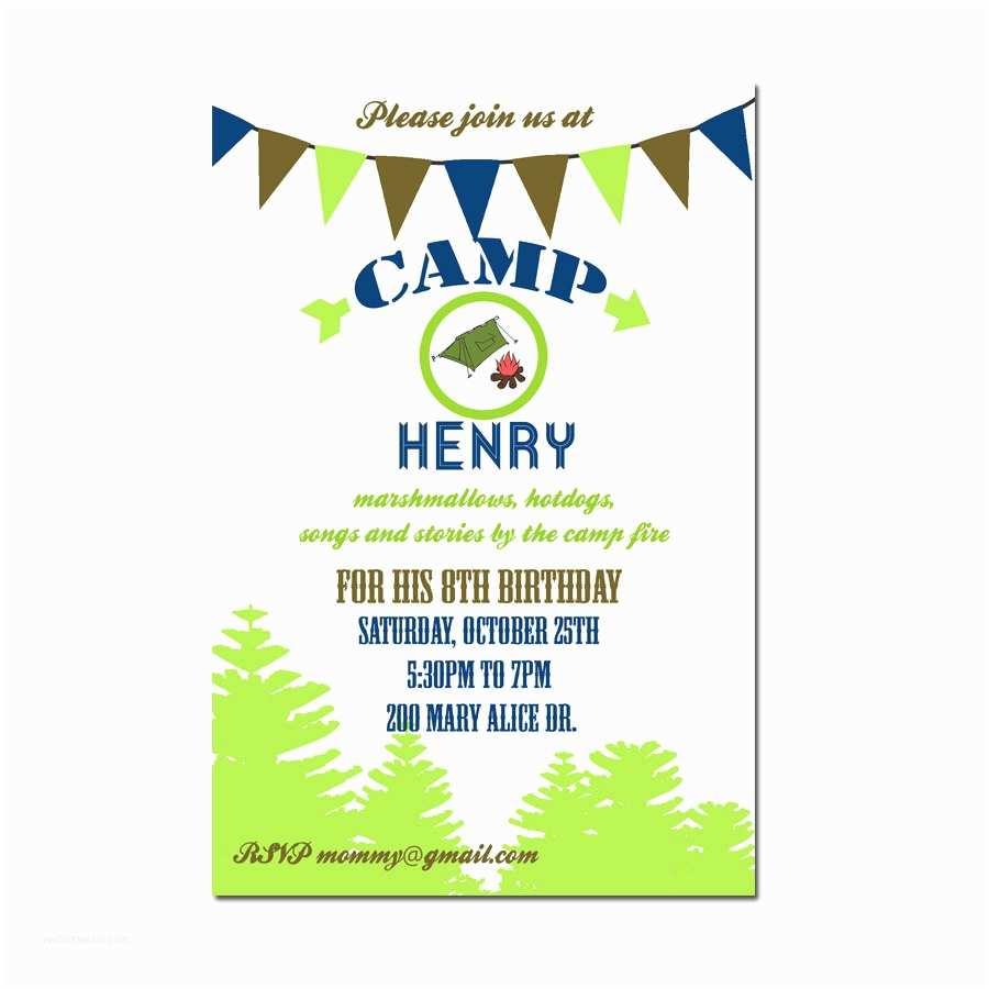 Camping Birthday Invitations Camping Party Invitation Camping Birthday Invitation Digial