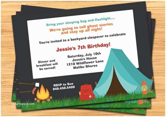 Camping Birthday Invitations Camping Party Invitation