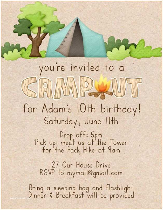 Camping Birthday Invitations Campout Birthday Invitation Party Ideas