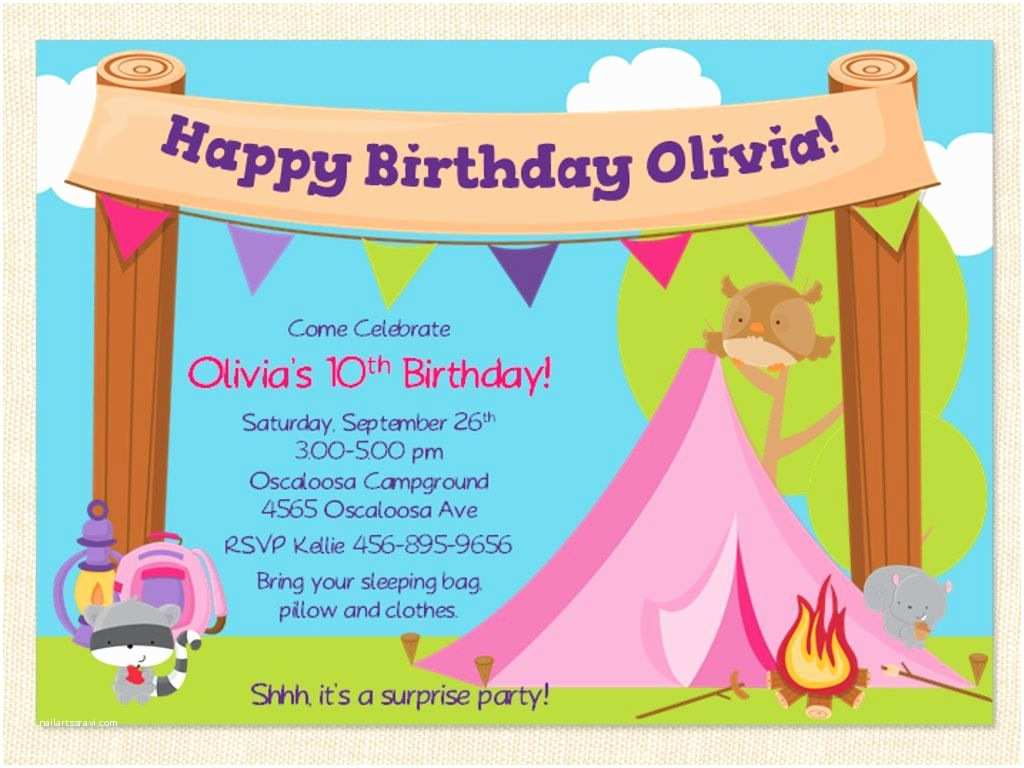 Camping Birthday Invitations Free Printable Camping Birthday Invitation Template